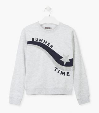Grey sweatshirt with star motif.