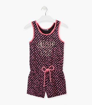 Summer romper in jersey with graphic motifs.