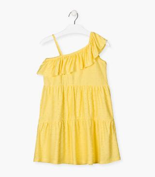 Yellow dress featuring dotted Swiss.