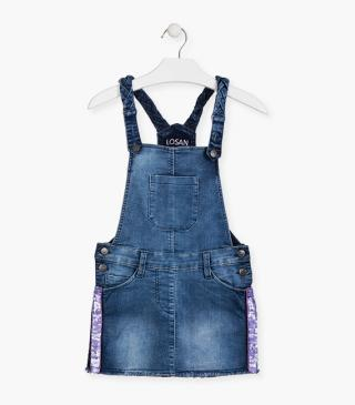 Pinafore dress with braided strap.
