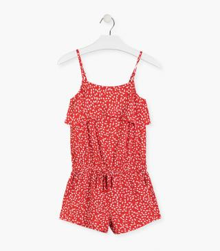 Floral summer romper in red.