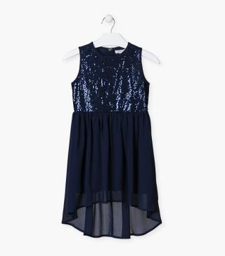 Blue dress with sequin detailing.