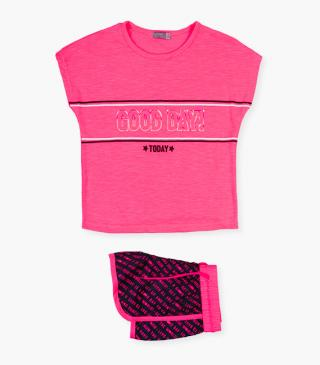 Pink athletic top & shorts set.