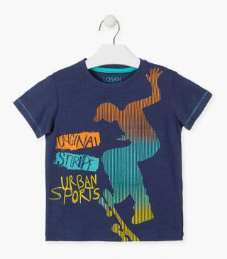 Skater boy silhouette t-shirt in blue.