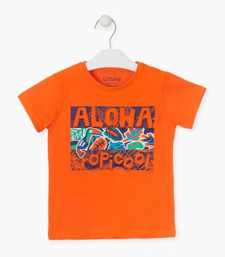 Orange tropical print t-shirt.