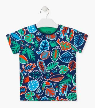 Tropical print top in blue.