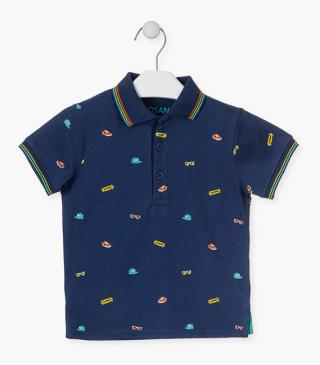 Short-sleeved cotton polo in blue.