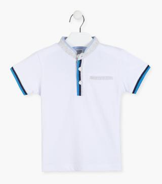 Mandarin collar polo shirt in white.