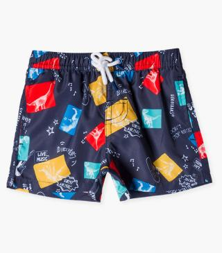Dinosaur motif swim trunks.