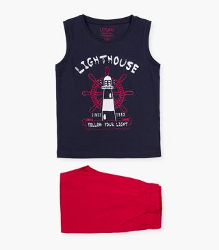Printed lighthouse tee & shorts set.