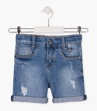 Denim shorts with shark patch.