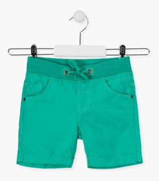 Twill shorts with ribbed waist.