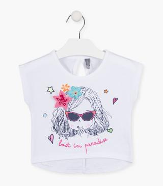 Printed girl crop top with strass.