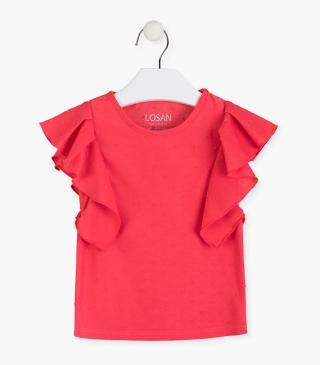 Short-sleeved t-shirt with ruffle.