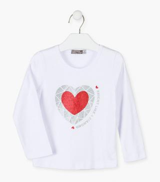Printed strass heart t-shirt.