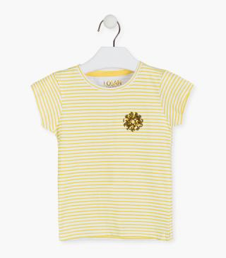 Yellow and white stripe shirt.