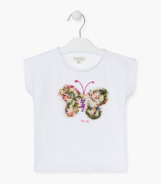 Butterfly appliqué front t-shirt.