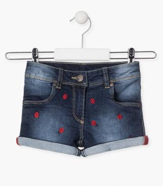Embroidered ladybird motif shorts.