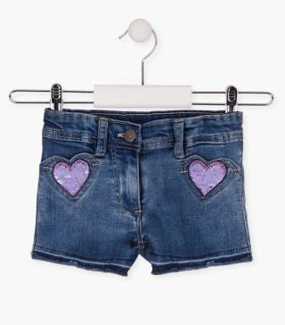 Reversible sequin heart shorts.