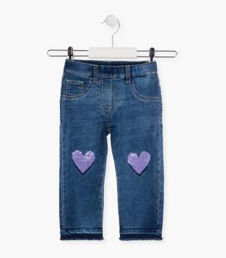 Reversible sequin heart jeggings.