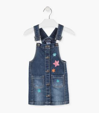 Pinafore dress with glittery floral details.