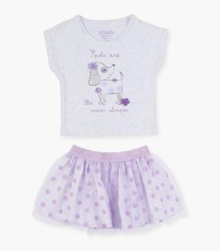 Printed dog t-shirt & skirt set.