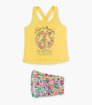 Rainbow peace-themed print top & shorts set.