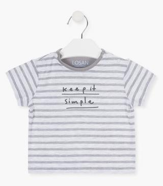 Stripe t-shirt with short sleeves.