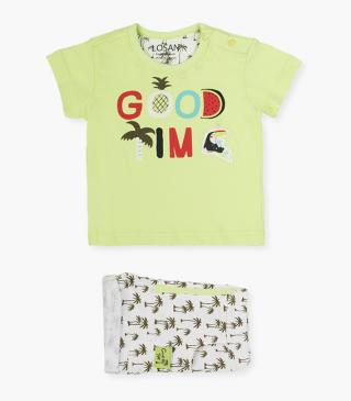 Shorts & lime green tee set.