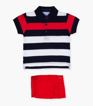 Striped polo shirt & red shorts set.