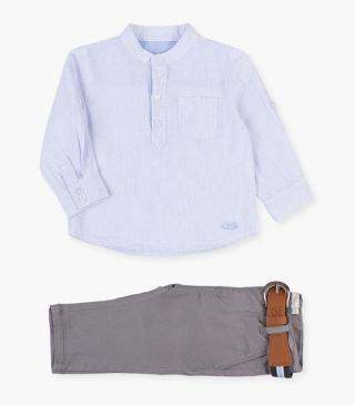 Striped linen shirt and skinny trousers set.