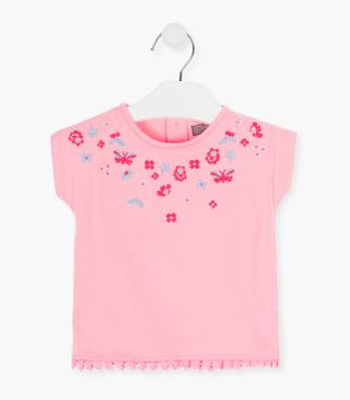 Flower and butterfly embroidery t-shirt.