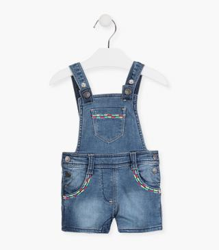 Denim dungaree with embroidery.