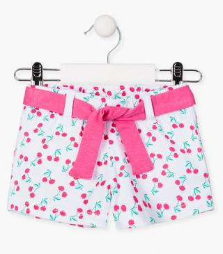All-over cherry print shorts.