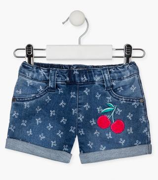 Denim shorts with all-over cherry print.