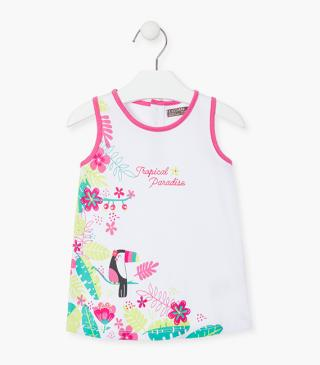 Dress with toucan and flower print front.