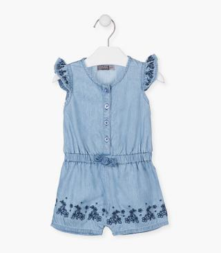 Summer romper with embroidered flowers.