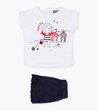Embroidered cuff shorts & tee set.