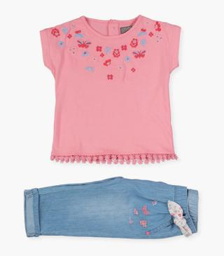 Flower and butterfly top & trousers set.