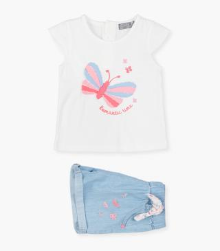 Floral shorts & butterfly t-shirt set.