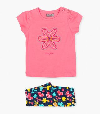 Embroidered flower top & leggings set.