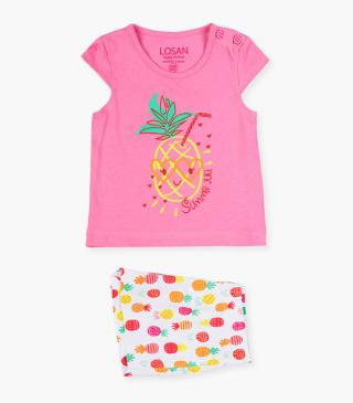 Tropical pineapple print top & shorts set.