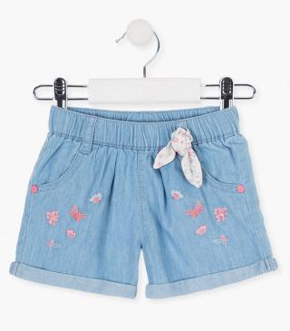 Flower and butterfly embroidery shorts.