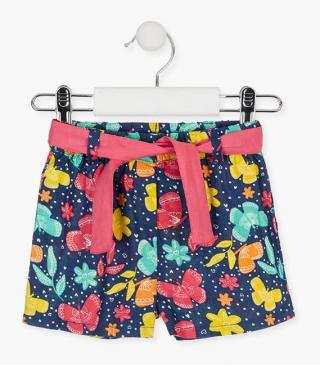 Short with multicoloured flower and butterfly motifs.