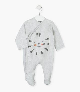 Sleepsuit featuring a rubberised tiger print.