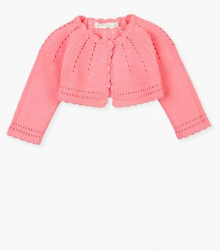 Pink cardigan with button.