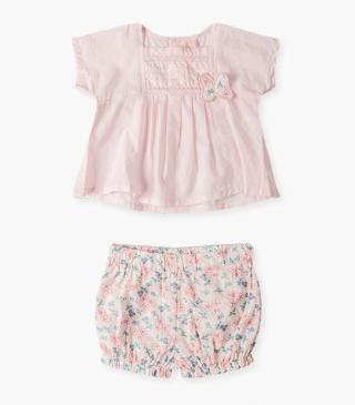 Butterfly appliqué tee & shorts set.