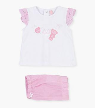Patch and print top & shorts set.