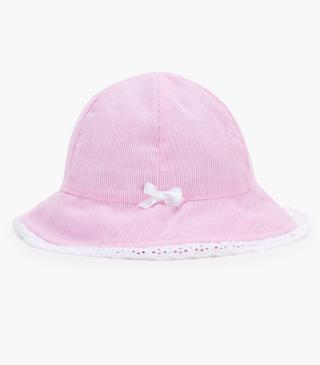 Pink and white stripe hat in poplin.