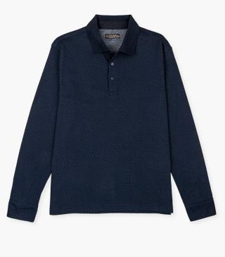 Long-sleeve polo shirt in jersey.
